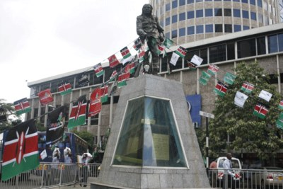 A statue of Dedan Kimathi on Kimathi Street in Nairobi. Kimathi became a symbol of British triumph over the Mau Mau.
