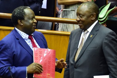 President Cyril Ramaphosa with Finance Minister Tito Mboweni ahead of the Budget 2019 Speech.
