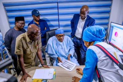 President Muhammadu Buhari at his campaign headquarters in the run-up to the announcement of the election result.