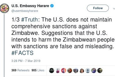 The United States Embassy tweet about sanctions.