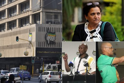 Left: Luthuli House. Top-right: ANC deputy secretary general Jessie Duarte. Bottom right: Composite of Zizi Kodwa (left) and Pule Mabe (right).