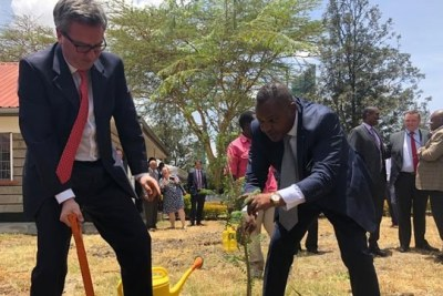 British High Commissioner to Kenya Nic Haley (left) and head of the Directorate of Criminal Investigations George Kinoti when they launched Kenya's first cyber unit dedicated to fighting child sex abuse on March 25, 2019.