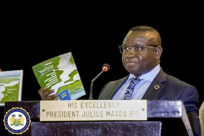 President Julius Maada Bio presents the national development plan.