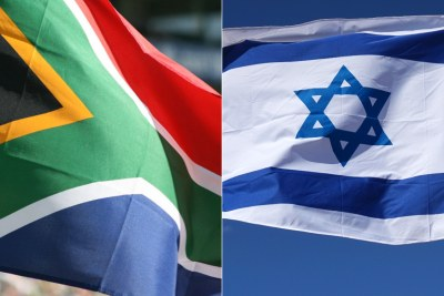 Drapeaux d'Afrique du Sud à gauche et d'Israël  à droite.