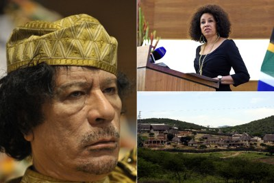 Left: Former Libyan leader Muammar Gaddafi. Top-right: Minister of International Relations and Cooperation Lindiwe Sisulu. Bottom-right: Former president Jacob Zuma's homestead in Nkandla.
