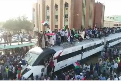 The 'freedom train' en route from Atbara to Khartoum on Sunday