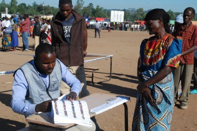 Voting in progress at Goliati in Thyolo where President Peter Mutharika will cast his vote.