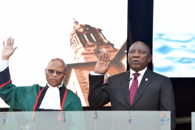 President Cyril Ramaphosa being sworn into office by Chief Justice Mogoeng Mogoeng on  May 25, 2019.