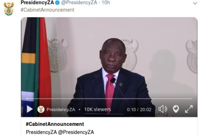 President Cyril Ramaphosa announces his new cabinet on May 29, 2019.