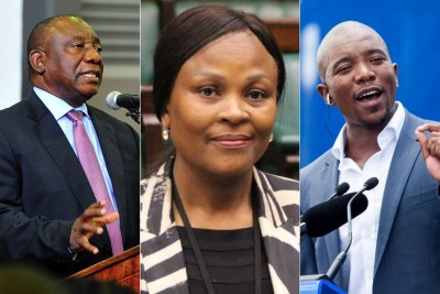 Left: President Cyril Ramaphosa. Centre: Public Protector Busisiwe Mkhwebane. Right: Democratic Alliance leader Mmusi Maimane.
