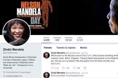 Screenshot of Zindzi Mandela's Twitter account.