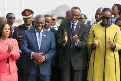 Botswana President Mokgweetsi Eric Keabetswe Masisi and First Lady Neo Masisi with Rwandan President Paul Kagame and First Lady Jeannette Kagame