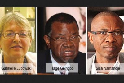 President Hage Geingob, lawyer Sisa Namandje and struggle icon Anton Lubowski's widow Gabrielle Lubowski.