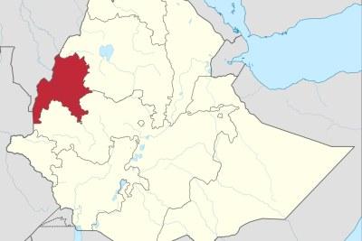 Une carte de l'Ethiopie montrant la région de Benishangul-Gumuz.