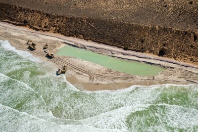 Part of the current mineral sands extraction by the Tormin Mine on the West Coast.
