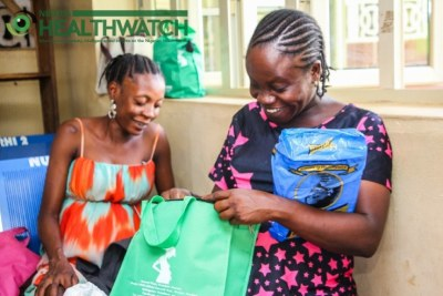 Pregnant women check out their birth kits (file photo).