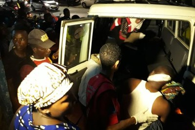Residents injured by a gang in Mombasa County on August 5 being taken to Yeshua Clinic in Bamburi.