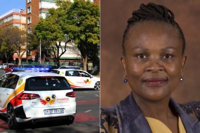 Left: Hawks cars. Right: Public Protector Busisiwe Mkhwebane.