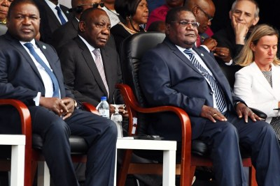 At the signing of the peace deal on August 7, 2019, from left, President Filipe Nyusi, South African President Cyril Ramaphosa, Renamo leader Ossufo Momade and European Union foreign affairs chief Federica Mogherini.