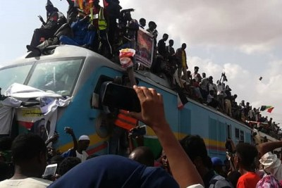 Celebrations begin as the Freedom Train arrives in Khartoum from Atbara.