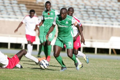 Gor Mahia's Dennis Oliech dribbles past a Posta Rangers player during a SportPesa Premier League match on January 9, 2019 at Moi International Sports Centre, Kasarani in Nairobi.