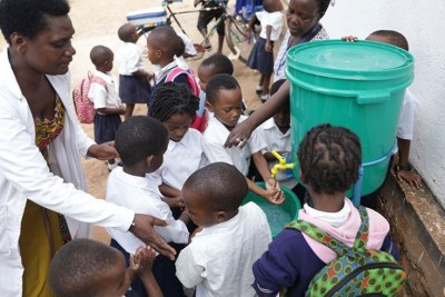 Rwandan schools have implemented hand washing campaign to stave off Ebola threat.