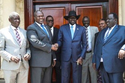 Le président du Soudan du Sud, Salva Kiir et le chef de l'opposition, le Riek Machar, se sont rencontrés le 11 septembre 2019 à Juba. Ce fut leur deuxième rencontre en face à face.