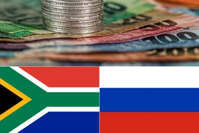 Top: Rand notes and coins. Bottom-left: South African flag. Bottom-right: Russian flag.