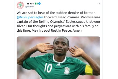 NFF passes tribute to Isaac Promise.