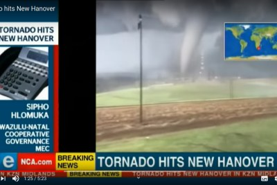 A video screengrab of the tornado which hit KwaZuluNatal on November 12, 2019.