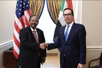 Hamdouk rencontre le Secrétaire Américain au Trésor le 4 décembre 2019.