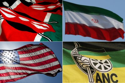 Top-left: Kenyan flag. Top-right: Iranian flag. Bottom-left: U.S. flag. Bottom-right: ANC flag.