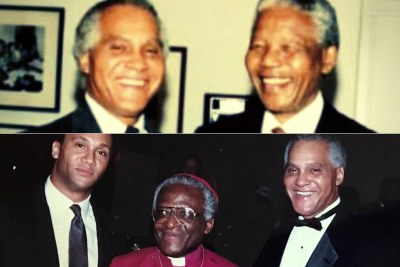 Africare co-founder Dr. Joseph C. Kennedy with South African President Nelson Mandela in 1994 (top) and with Archbishop Desmond Tutu and his son Adam Kennedy in 1992.