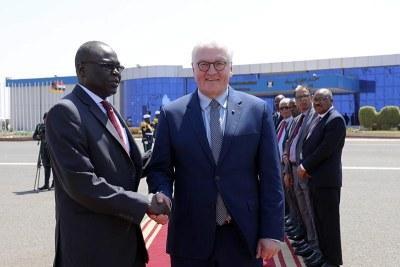 Arrivée du président allemand au Soudan