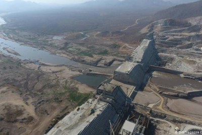 An aerial photo of the Grand Ethiopian Renaissance Dam.