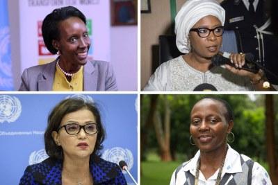 De haut en bas et de gauche à droite: Giovanie Biha (Burundi), Réprésentante spéciale adjointe pour l'Afrique, de  l'Ouest et du Sahel 'UNOWAS); Diène Keita (Guinée) Directrice exécutive adjointe en charge des programmes à l'UNFPA; Najat Rochdi (Maroc), Coordinatrice adjointe spéciale pour le Liban (UNSCOL); et Elizabeth Maruma Mrema (Tanzanie) Secrétaire exécutive de la Convention sur la Diversité Biologique (CBD)