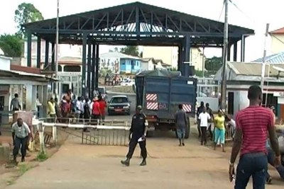 Border check point between Cameroon and Equatorial Guinea at Kye-Ossi,