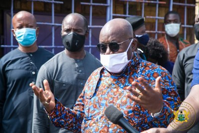 President Nana Addo Dankwa Akufo-Addo paid unannounced visits to five voter registration centres.