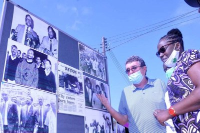 Fr Gabriel Dolan, of civil society group Haki Yetu, tells Mombasa residents the Saba Saba story, during an exhibition along Nyerere Road, as the movement marked its 30th anniversary on July 7, 2020.