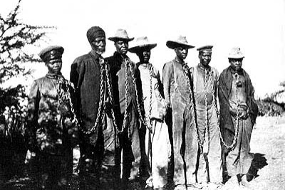 A group of Herero people chained during the 1904 rebellion.