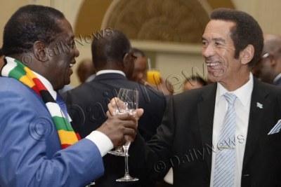 Zimbabwe President Emmerson Mnangagwa and former Botswana president Ian Khama (file photo).