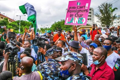 #EndSARS protesters at the State House in Alausa, Ikeja (file photo).