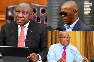 Left: President Cyril Ramaphosa. Top-right: Ace Magashule. Bottom-right: Former president Jacob Zuma.