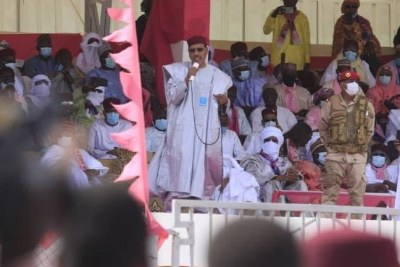 Mohamed Bazoum, tipped to win the election, speaks at a campaign event speech at Diffa in southeastern Niger.
