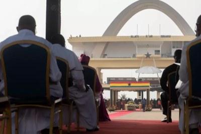 Funérailles d'Etat de l'ancien président du Ghana Jerry Rawlings, sur la place de l'Indépendance à Accra (Ghana), le 27 janvier 2020.