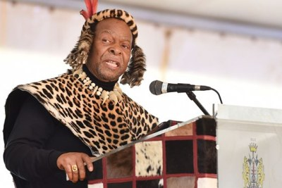 King Goodwill Zwelithini kaBhekuzulu delivers an address at the National Day of Reconciliation celebrations at Ncome Museum in KwaZulu-Natal in 2014.