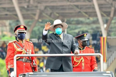 President Yoweri Museveni inspecting a guard of honour during his inauguration ceremony at Kololo ceremonial grounds on May 12, 2021.