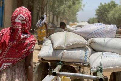 Distribution alimentaire du PAM dans la région du Tigré.