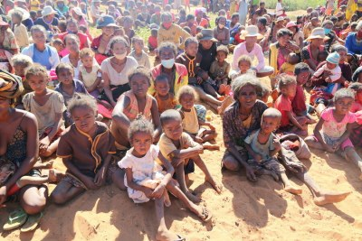 Underweight and malnourished children wait for treatment at a nutrition centre in Ambovombe district in June.