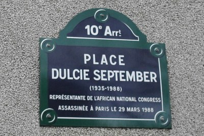 Memorial plaque for Dulcie September -  Dulcie was a South African anti-apartheid political activist. Born in Athlone, Western Cape, South Africa, she was assassinated in Paris, France.